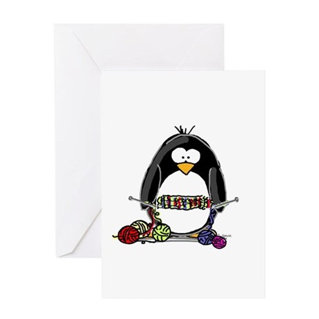 Knitting Penguin Greeting Card