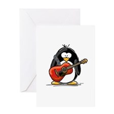 Red Acoustic Guitar Penguin Greeting Card