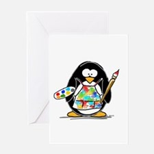 Artist penguin Greeting Card