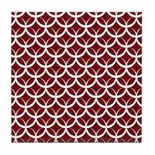 Burgundy Circle Pattern Tile Coaster