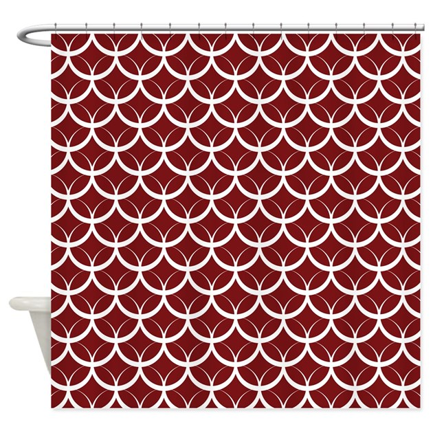 Burgundy Circle Pattern Shower Curtain By Admin Cp1053336