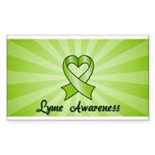 Lyme Disease Awareness Heart Ribbon Bumper Stickers