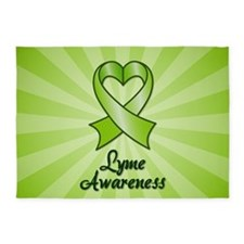 Lyme Disease Awareness Heart Ribbon 5'x7'Area Rug