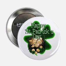 """St Patrick's Day Pot of Gold 2.25"""" Button"""