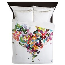 Smaller Butterfly - Butterfly Heart Queen Duvet