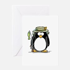Fishing penguin Greeting Card