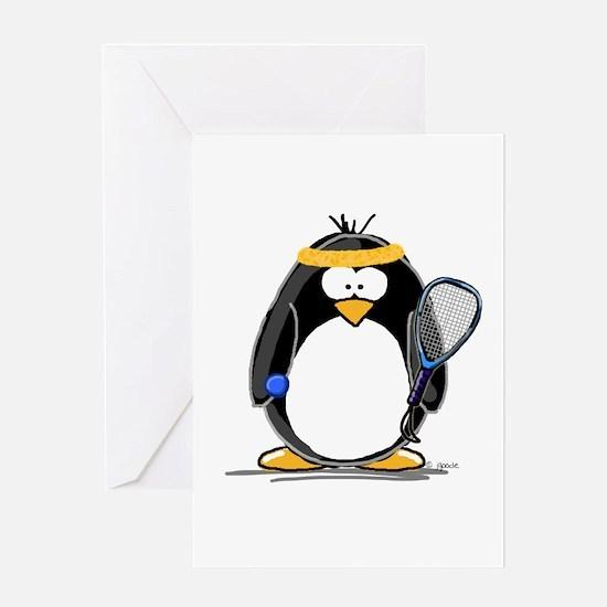 racquetball Penguin Greeting Card