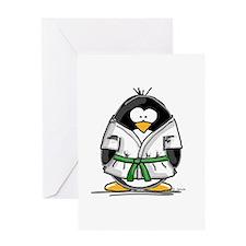 Martial Arts green belt pengu Greeting Card