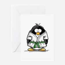 Martial Arts green belt pengu Greeting Card
