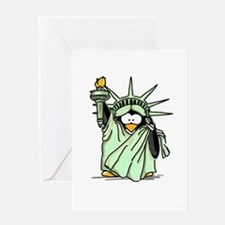 Statue of Liberty Penguin Greeting Card
