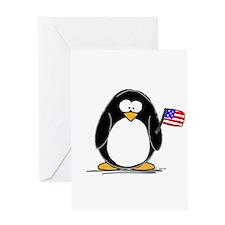 Patriotic penguin Greeting Card