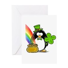 Leprechaun Penguin Greeting Card
