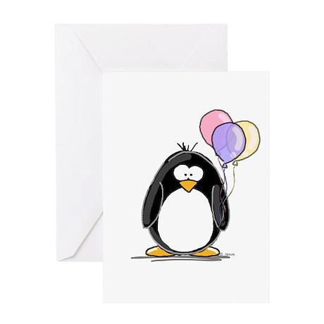 Pastel Balloons Penguin Greeting Card