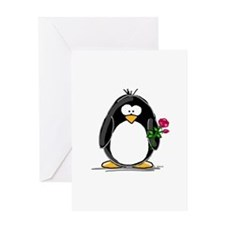 Penguin with a Rose Greeting Card