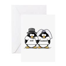 Just Married Bride and Groom Greeting Card
