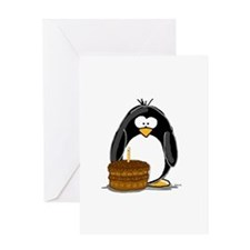 Chocolate Birthday Cake Pengu Greeting Card