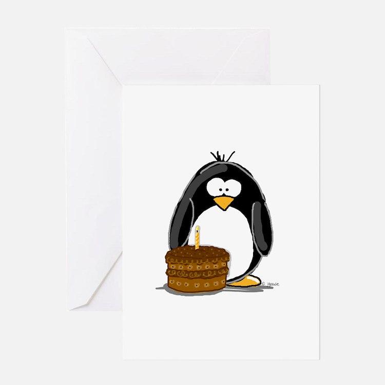 Chocolate Birthday Cake Pengu Greeting Card