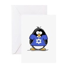 Star of David Penguin Greeting Card