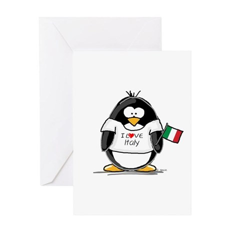 Italy Penguin Greeting Card