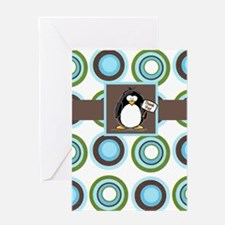 Mod Dots and Penguin Thank You Greeting Card