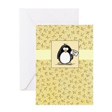Penguin and Florals Thank You Greeting Card