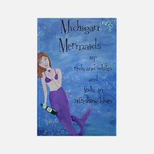Michigan Mermaids wine Rectangle Magnet