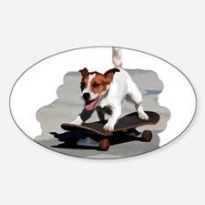 Jack Russel Terrier on Skateboard Decal