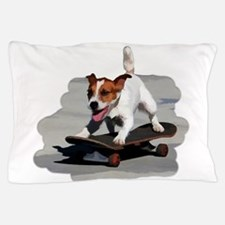Jack Russel Terrier on Skateboard Pillow Case