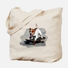 Jack Russel Terrier on Skateboard Tote Bag