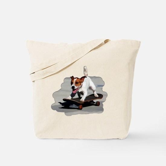 Jack Russel Terrier on Skateboard Tote Bag