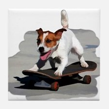 Jack Russel Terrier on Skateboard Tile Coaster