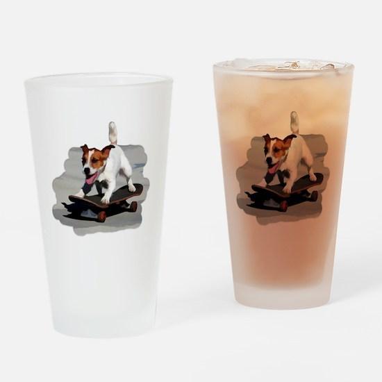 Jack Russel Terrier on Skateboard Drinking Glass