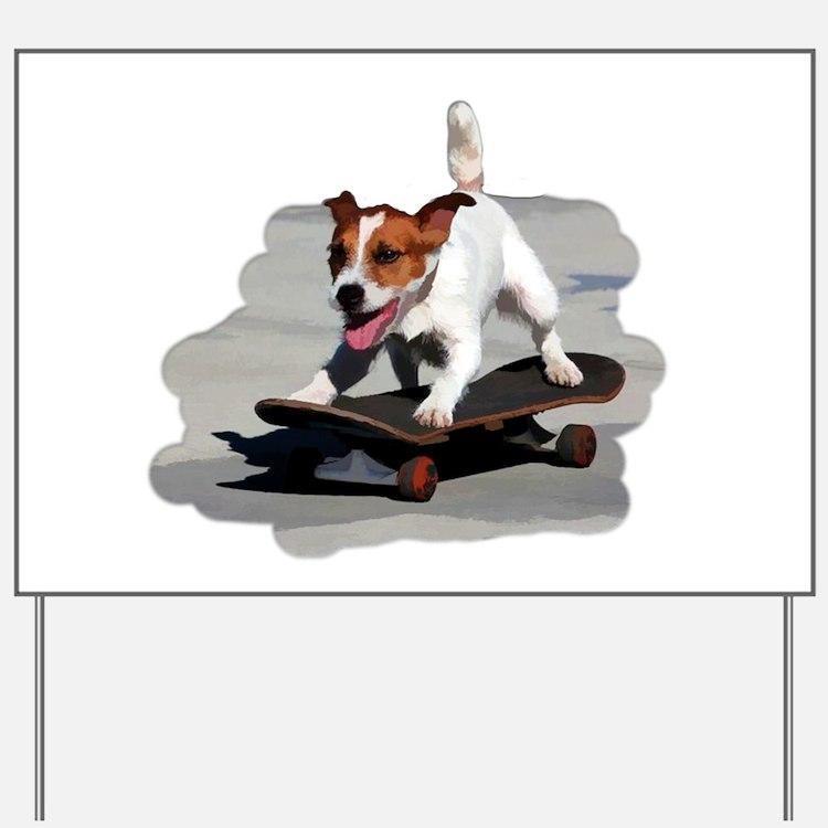 Jack Russel Terrier on Skateboard Yard Sign