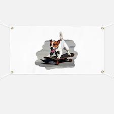 Jack Russel Terrier on Skateboard Banner