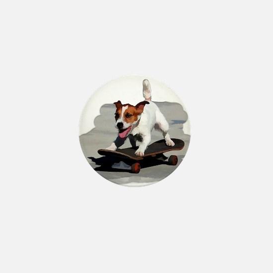 Jack Russel Terrier on Skateboard Mini Button