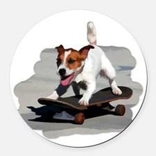 Jack Russel Terrier on Skateboard Round Car Magnet