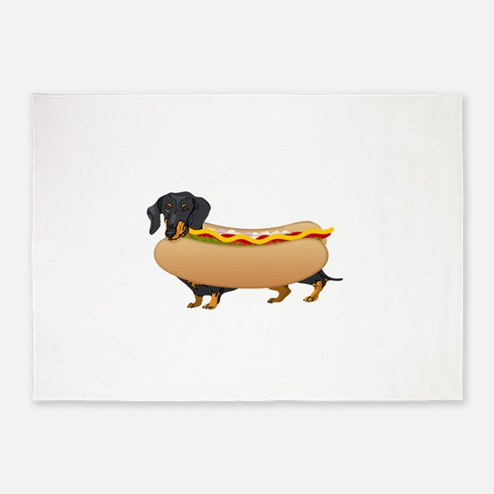 Black Weiner Dog with all the Fixin 5'x7'Area Rug
