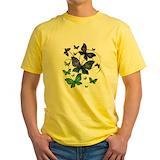 Butterflies Mens Yellow T-shirts