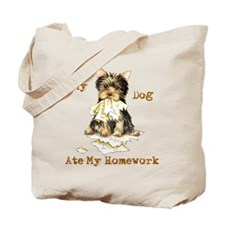 Yorkie Ate Homework Tote Bag