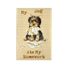 Yorkie Ate Homework Rectangle Magnet