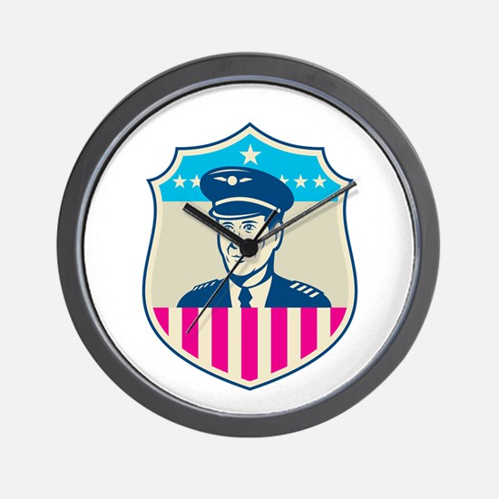 American Airline Pilot Aviator USA Flag Shield Ret
