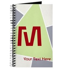Retro Spring Green Grey Red Monogramed Journal