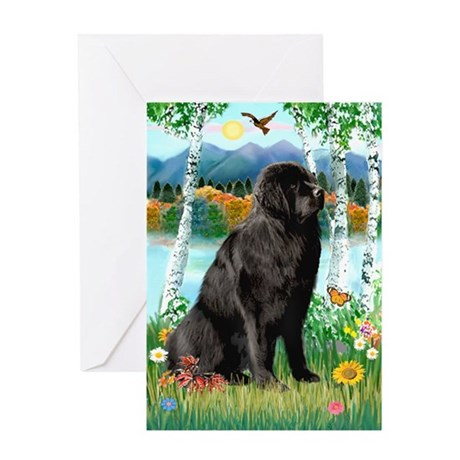Newfie in the Birches Greeting Card