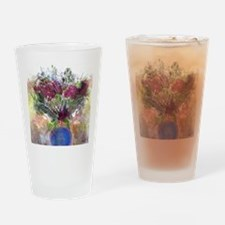 Burgundy Floral in a Blue Vase Drinking Glass