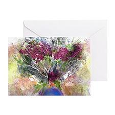 Burgundy Floral in a Blue Vase Greeting Card