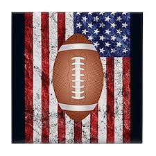 Football on american flag Tile Coaster