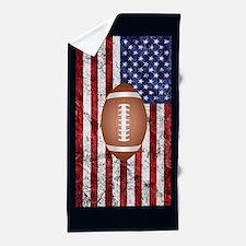 Football on american flag Beach Towel