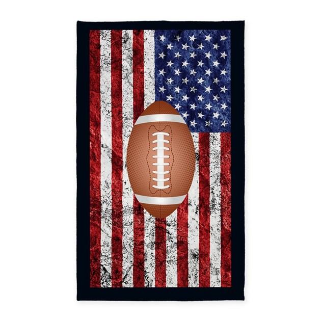 Football On American Flag Area Rug By WickedDesigns4