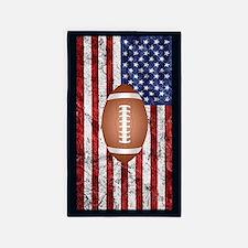 Football on american flag Area Rug