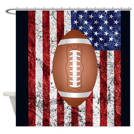 football on american flag shower curtain